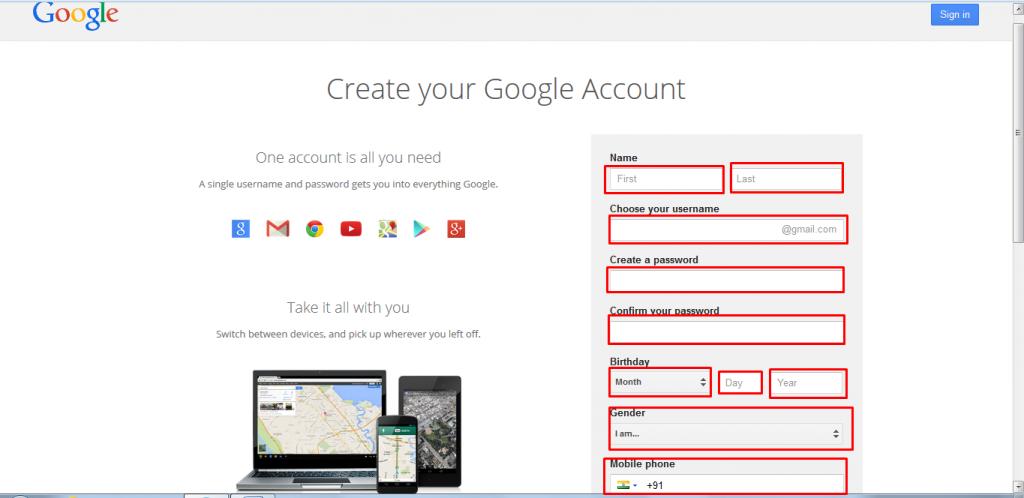 Gmail Üye ol